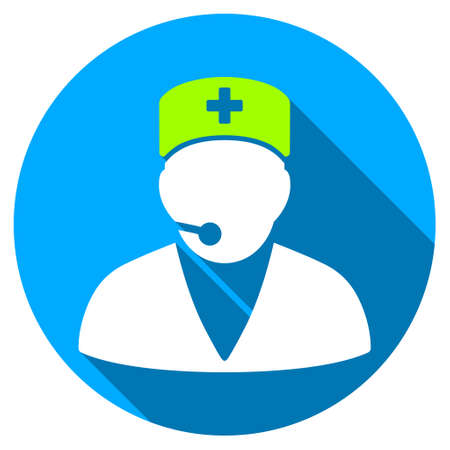 Medical Operator long shadow icon. Style is a light flat symbol with rounded angles on a blue round button. Illustration