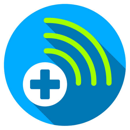 light source: Medical Source long shadow icon. Style is a light flat symbol with rounded angles on a blue round button.