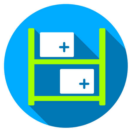 storage data product: Medical Warehouse long shadow icon. Style is a light flat symbol with rounded angles on a blue round button.