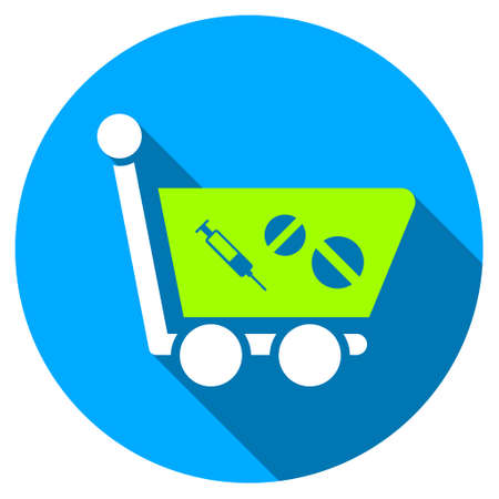 webshop: Medication Shopping Cart long shadow icon. Style is a light flat symbol with rounded angles on a blue round button.