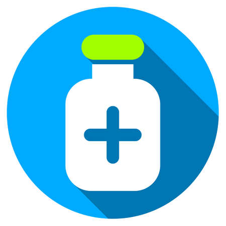 a substance vial: Medication Vial long shadow icon. Style is a light flat symbol with rounded angles on a blue round button.