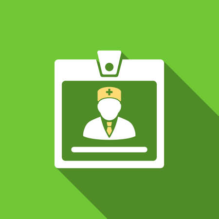 doctor symbol: Doctor Badge long shadow vector icon. Style is a flat symbol with rounded angles on a green square button.