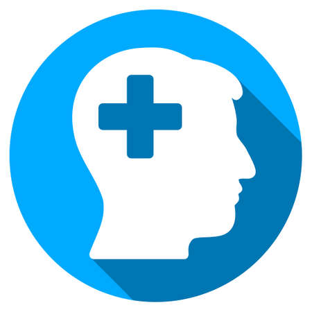 blue circle: Plus Man Head long shadow icon. Style is a light flat symbol with rounded angles on a blue round button. Illustration
