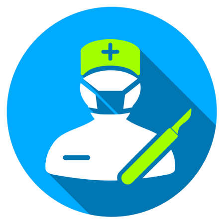 Ikona długi cień chirurga. Styl to lekki płaski symbol z zaokrąglonymi kątami na niebieskim okrągłym przycisku. Ilustracje wektorowe