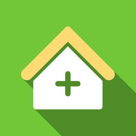 polyclinic: Clinic long shadow vector icon. Style is a flat symbol with rounded angles on a green square button. Illustration