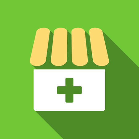 building exterior: Drugstore long shadow vector icon. Style is a flat symbol with rounded angles on a green square button.