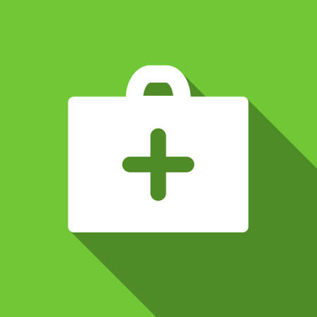 first aid box: First Aid Box long shadow vector icon. Style is a flat symbol with rounded angles on a green square button. Illustration