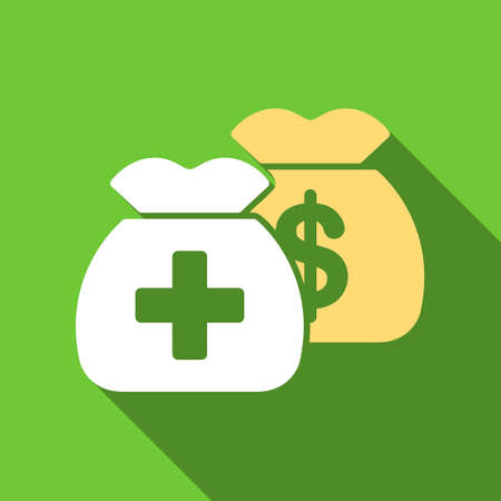 Health Care Funds long shadow vector icon. Style is a flat symbol with rounded angles on a green square button.