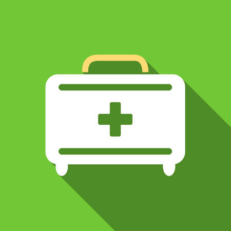 toolkit: First Aid Toolkit long shadow vector icon. Style is a flat symbol with rounded angles on a green square button. Illustration