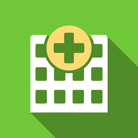polyclinic: Hospital long shadow vector icon. Style is a flat symbol with rounded angles on a green square button. Illustration