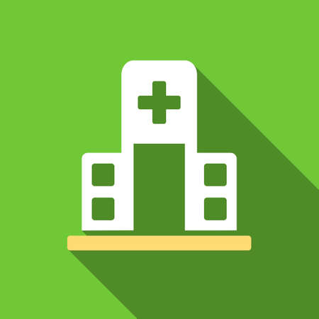 polyclinic: Hospital Building long shadow vector icon. Style is a flat symbol with rounded angles on a green square button.