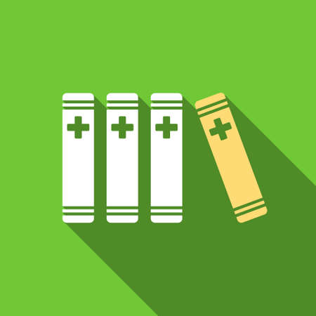 Medical Books long shadow vector icon. Style is a flat symbol with rounded angles on a green square button. Illustration