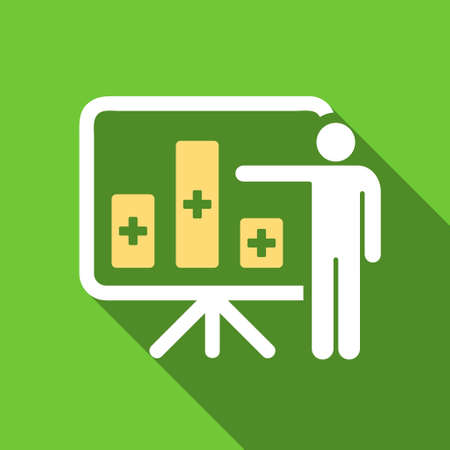 health care analytics: Medical Bar Chart Presentation long shadow vector icon. Style is a flat symbol with rounded angles on a green square button.
