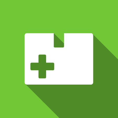 medical box: Medical Box long shadow vector icon. Style is a flat symbol with rounded angles on a green square button.
