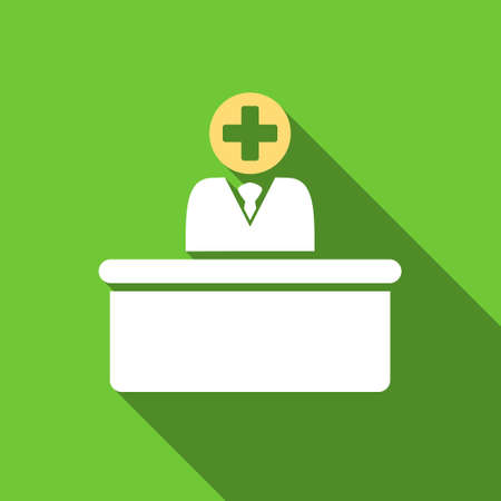 bureaucrat: Medical Bureaucrat long shadow vector icon. Style is a flat symbol with rounded angles on a green square button. Illustration