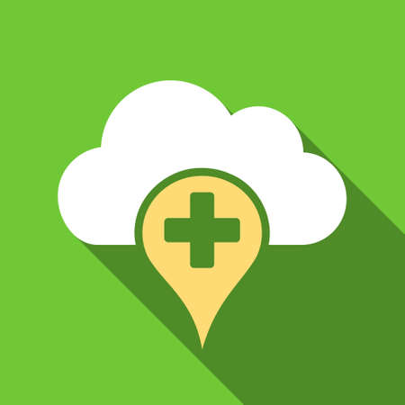 dropbox: Medical Cloud long shadow vector icon. Style is a flat symbol with rounded angles on a green square button.