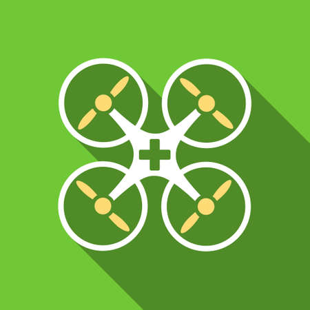 airflight: Medical Drone long shadow vector icon. Style is a flat symbol with rounded angles on a green square button. Illustration