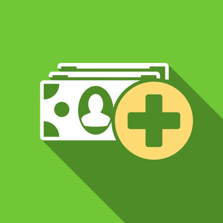 medical bill: Medical Expences long shadow vector icon. Style is a flat symbol with rounded angles on a green square button.