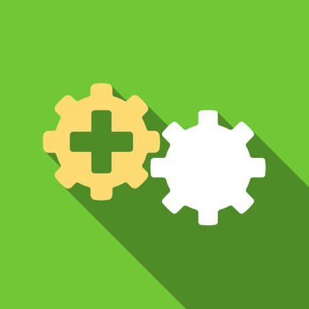 gear box: Medical Process long shadow vector icon. Style is a flat symbol with rounded angles on a green square button.