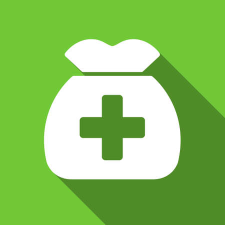 health care funding: Medical Capital long shadow raster icon. Style is a flat symbol with rounded angles on a green square button.