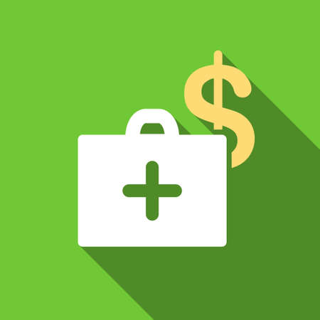 health care funding: Medical Fund long shadow raster icon. Style is a flat symbol with rounded angles on a green square button.