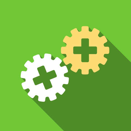 gear box: Medical Gears long shadow raster icon. Style is a flat symbol with rounded angles on a green square button. Stock Photo