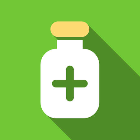 phial: Medication Vial long shadow vector icon. Style is a flat symbol with rounded angles on a green square button. Illustration
