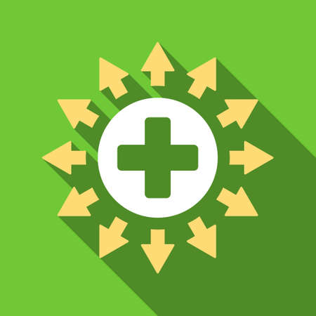 medical distribution: Pharmacy Distribution long shadow vector icon. Style is a flat symbol with rounded angles on a green square button. Illustration