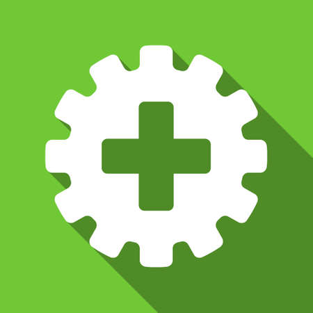 green plus: Plus Gear long shadow vector icon. Style is a flat symbol with rounded angles on a green square button.