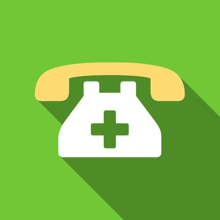 telephone icon: Clinic Phone long shadow raster icon. Style is a flat symbol with rounded angles on a green square button. Stock Photo