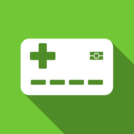 Medical Insurance Card long shadow raster icon. Style is a flat symbol with rounded angles on a green square button.