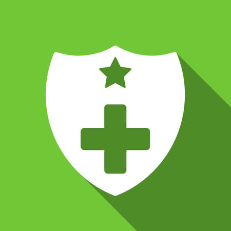 Medical Insurance Shield long shadow raster icon. Style is a flat symbol with rounded angles on a green square button. 版權商用圖片