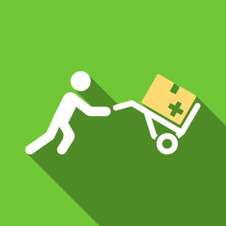 emergency cart: Medical Shopping long shadow raster icon. Style is a flat symbol with rounded angles on a green square button. Stock Photo