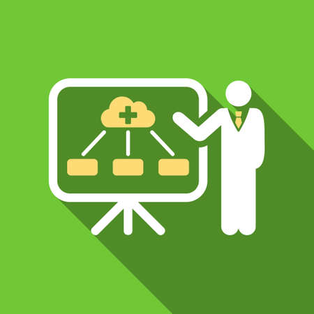 health care analytics: Health Care Structure Report long shadow raster icon. Style is a flat symbol with rounded angles on a green square button.