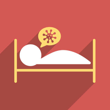 patient bed: Infected Patient Bed long shadow vector icon. Style is a flat light symbol with rounded angles on a red square background.