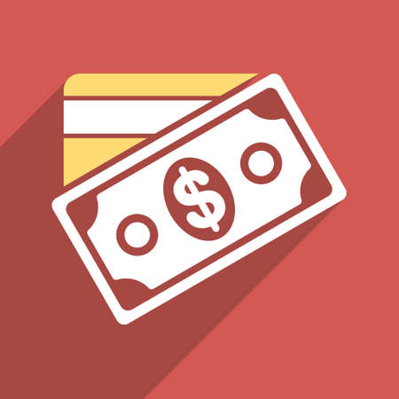 e cash: Money long shadow vector icon. Style is a flat light symbol with rounded angles on a red square background.