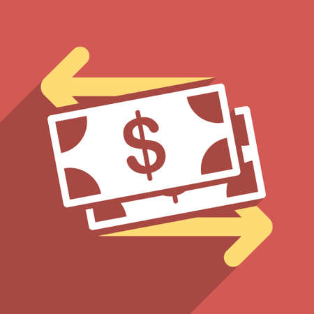 banknotes: Dollar Banknotes Payments long shadow vector icon. Style is a flat light symbol with rounded angles on a red square background.