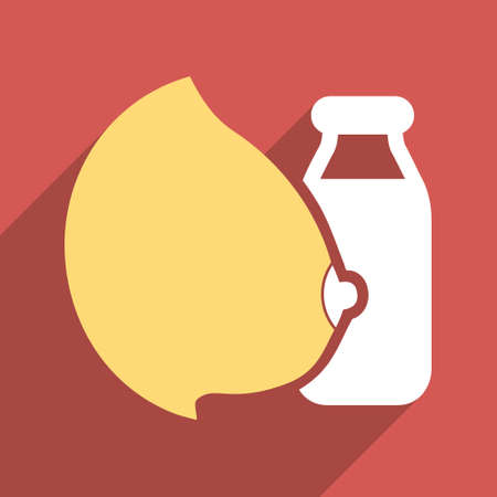 Mother Milk Bottle long shadow vector icon. Style is a flat light symbol with rounded angles on a red square background.
