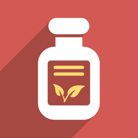 phial: Natural Drugs long shadow vector icon. Style is a flat light symbol with rounded angles on a red square background.