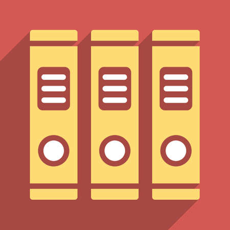 directory book: Office Books long shadow vector icon. Style is a flat light symbol with rounded angles on a red square background.