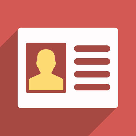 admittance: Patient Account long shadow vector icon. Style is a flat light symbol with rounded angles on a red square background.