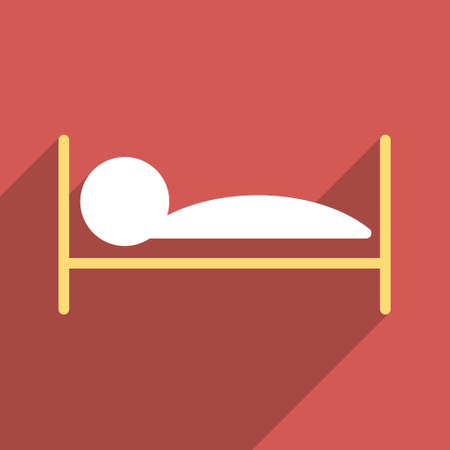 patient bed: Patient Bed long shadow vector icon. Style is a flat light symbol with rounded angles on a red square background.