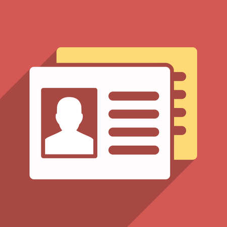 admittance: Patient Accounts long shadow vector icon. Style is a flat light symbol with rounded angles on a red square background.