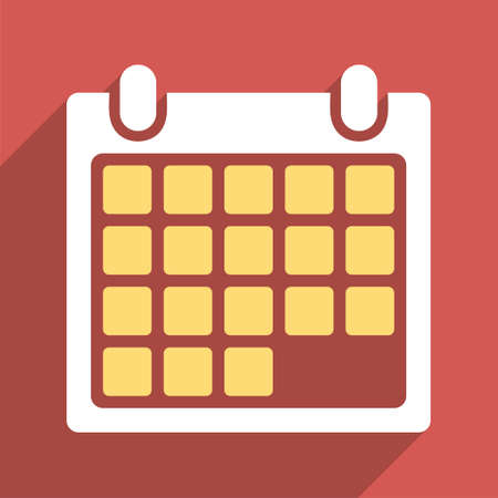 syllabus: Month Calendar long shadow glyph icon. Style is a flat light symbol with rounded angles on a red square background.