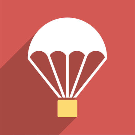 sky diving: Parachute long shadow glyph icon. Style is a flat light symbol with rounded angles on a red square background.