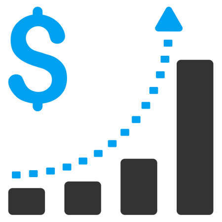 Business Bar Chart Positive Trend vector icon. Style is bicolor flat symbol, blue and gray colors, dots are rounded rectangles, white background.