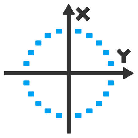 coordinates: Dotted Circle Plot vector icon. Style is bicolor flat symbol, blue and gray colors, dots are rounded rectangles, white background.