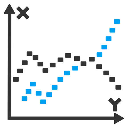 functions: Dotted Functions Plot vector icon. Style is bicolor flat symbol, blue and gray colors, dots are rounded rectangles, white background.