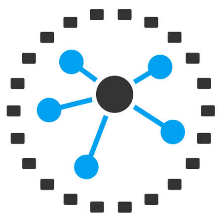 co operation: Dotted Links Diagram vector icon. Style is bicolor flat symbol, blue and gray colors, dots are rounded rectangles, white background.