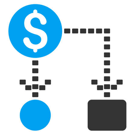 cashflow: Cashflow Scheme glyph icon. Style is bicolor flat symbol, blue and gray colors, dots are rounded rectangles, white background.